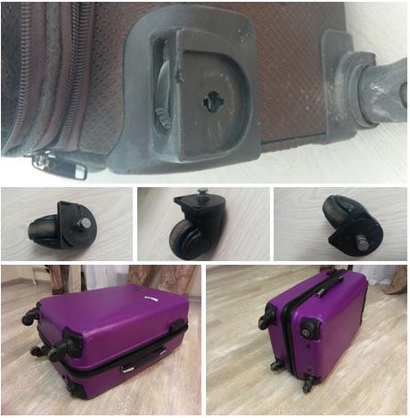 до и после ремонта колеса чемодана American Tourister