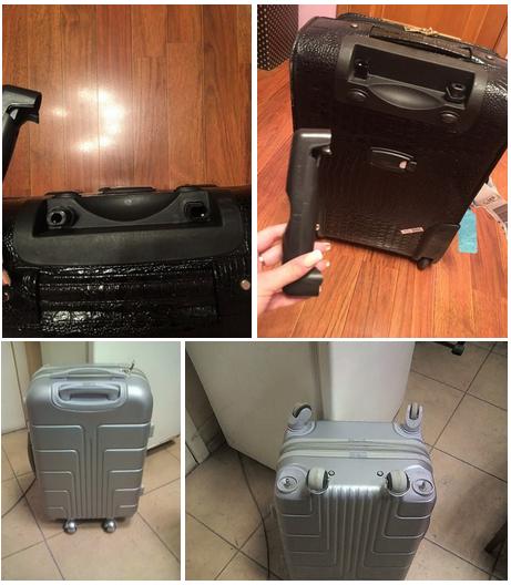 фото до и после ремонта корпуса чемодана American Tourister