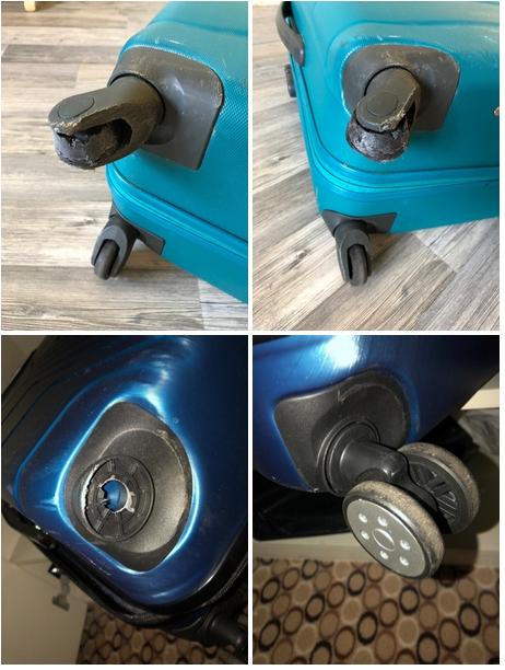 до и после замены колеса чемодана Grott