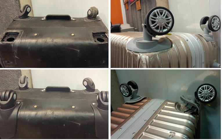 фото до и после ремонта колес чемодана Happy Trip